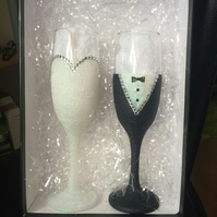Handmade Glittered Bride & Groom Champagne Glasses