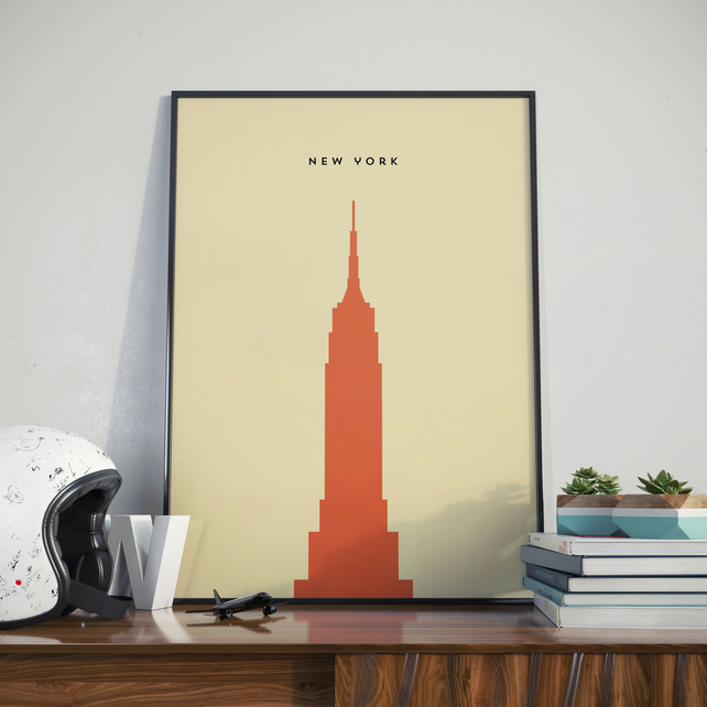 A3 New York Empire State Building, Print. Poster.