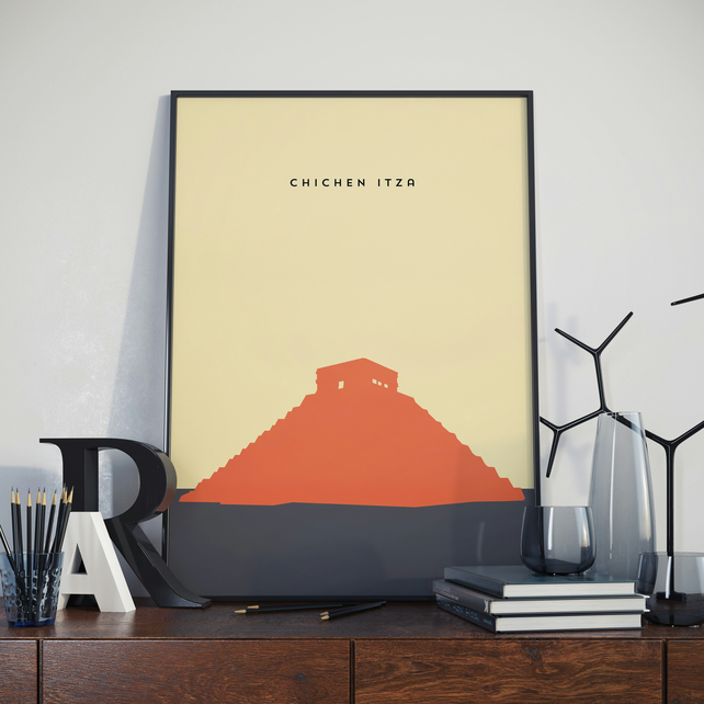 A3 Chichen Itza, Print. Poster. Wonder of the World Poster.