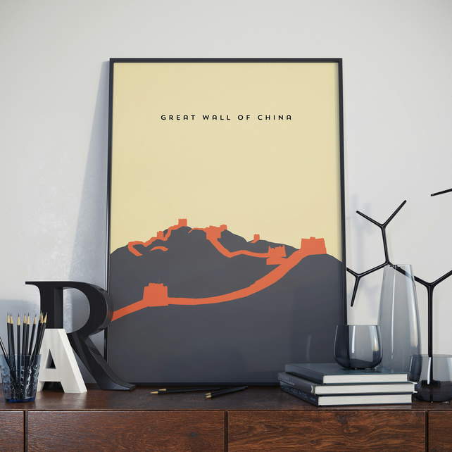 A3 Great wall of China, Print. Poster. Wonder of the World Poster.