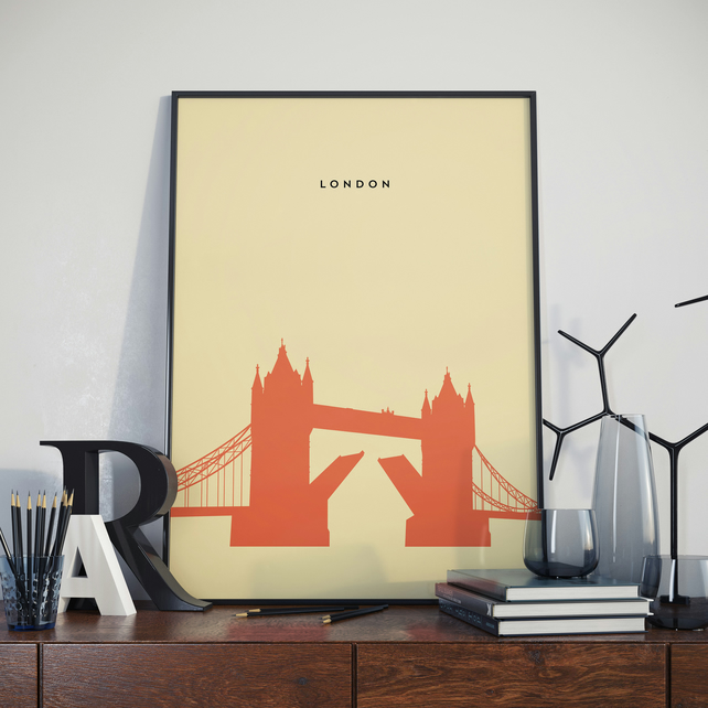 A3 London Tower Bridge, Print. Poster.