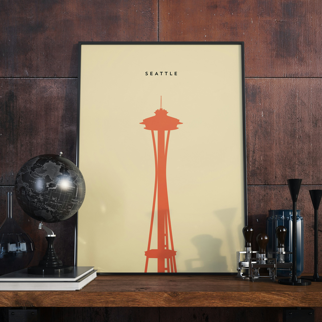 A3 Seattle needle, Print. Poster.