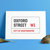 A3 London Street Sign. Oxford Street road sign. Print. Poster.