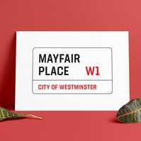 A3 London Street Sign. Mayfair Street road sign. Print. Poster.