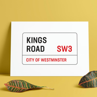 A3 London Street Sign. Kings Road Street road sign. Print. Poster.