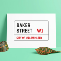 A3 London Street Sign. Baker Street road sign. Print. Poster.