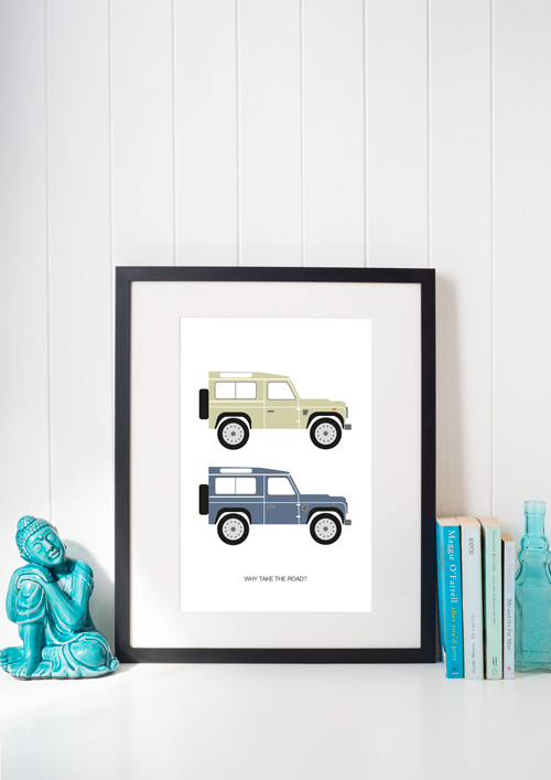Landrover Defender illustrated A4 print