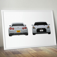 Nissan Skyline GTR illustrated A4 print