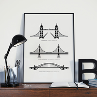 Three bridges A4 illustrated print