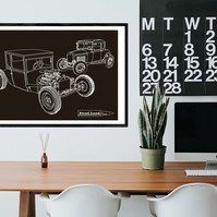 Model T & Model A - Digital Hand Drawn Illustration A2 Size