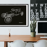 Model T Roadster - Digital Hand Drawn Illustration A2 Size