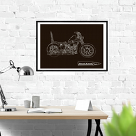 Harley Chopper Bike - Digital Hand Drawn Illustration A2 Size