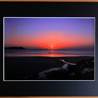 Sunset at Polzeath A4 Mounted Print