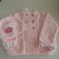 Hand Knitted Baby or Girls jacket and hat with flower Made to order  to age 5