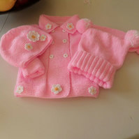 Hand Knitted to Order Baby or Toddler Coat with Daisy trim