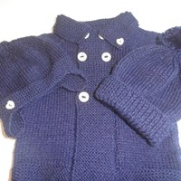 Hand Knitted Boys Jacket and Hat  Made to Order