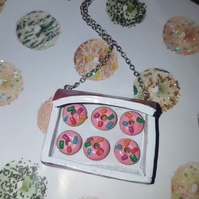 Strawberry Iced Ring Doughnuts Necklace on 45cm chain
