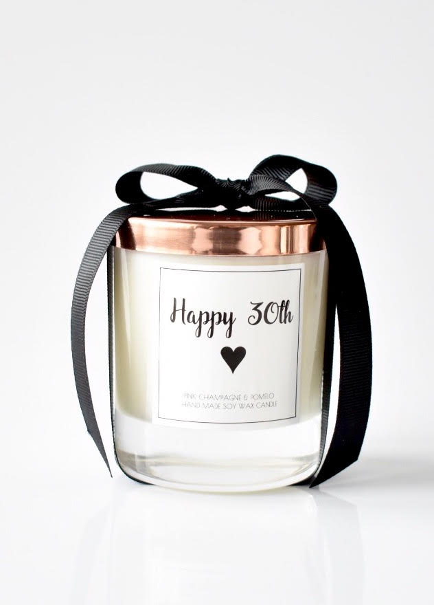 Personalised Birthday scented candle - Natural soy wax - Pink Champagne & Pomelo