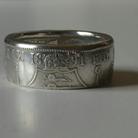 Sterling Silver Florin - Two Shillings Coin Ring.