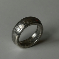 Sterling Silver One Shilling Coin Ring