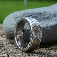 50% siver British Florin Coin Ring
