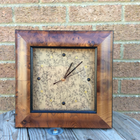 Burr walnut wall clock