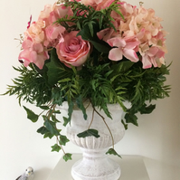 Peach Roses & Pink Hydrangeas Large Artificial Flower Arrangement
