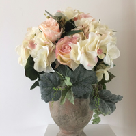 Blush Pink Roses & Ivory Hydrangeas Large Artificial Flower Arrangement