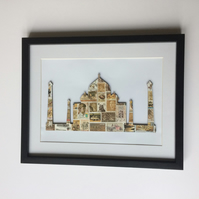 Vintage Used Postage Stamps Taj Mahal, India, Framed Picture with Mount