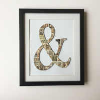 Vintage Used Postage Stamps Ampersand Sign Framed Picture with Mount