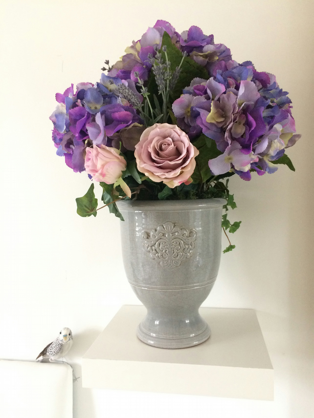 Lavender Blue Hydrangeas & Dusky Pink Roses Large Artificial Flower Arrangement