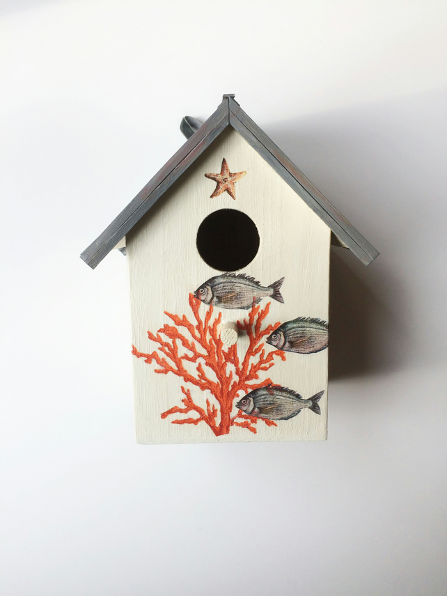"""Orange Coral"" birdhouse"