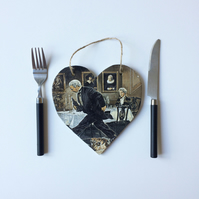 Wooden hanging heart 'Butler! Fetch more wine!'