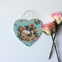 Wooden hanging heart 'Dogs 'n' Roses'