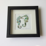 Vintage Used Stamp Framed picture of Seahorses in blues and greens