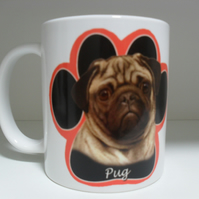 Pug Dog Paw Print 11oz novelty coffee mug