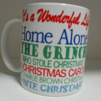 Christmas films names quotes 11oz novelty christmas coffee mug