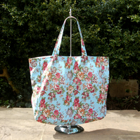 Large knitting bag in blue rose print fabric