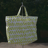 Large knitting bag in green vine print fabric