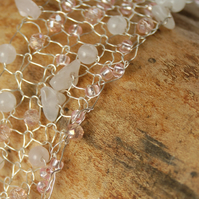 Rose quartz beaded bracelet, silver wire bracelet, knitted bracelet,