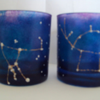 Hand painted orion and pegasus constellation glasses. Science gift