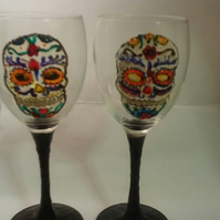 Hand painted sugar skull, day of the dead glasses