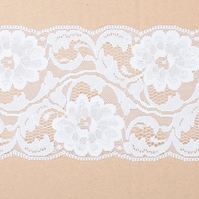 Inelastic white lace with flowers 9,5 cm