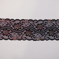 Elastic lace black with colorful flowers 8 cm