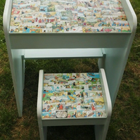 Tin Tin Decoupaged School Desk