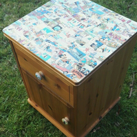 Tin Tin Decoupage Bedside Table