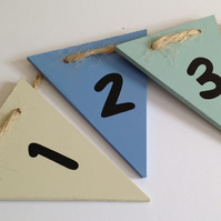 Boys Wooden Number Bunting