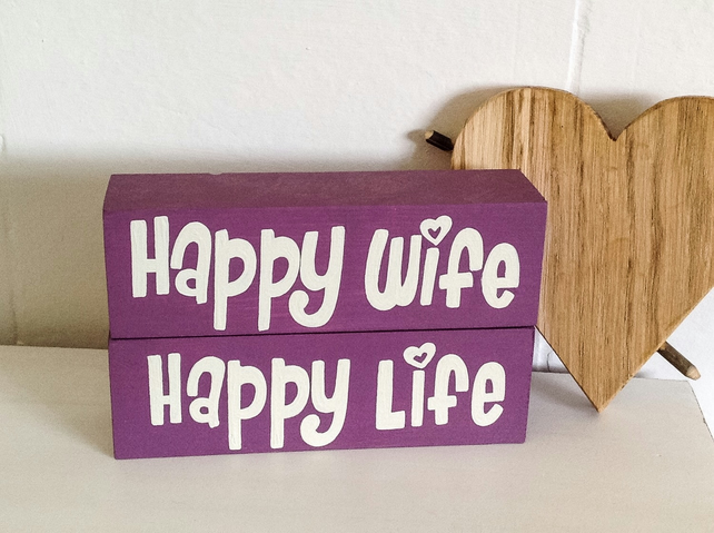 Happy Wife Happy Life - Shelf Decor Blocks