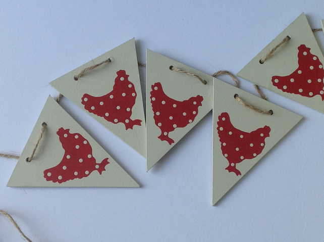 Red Polka Dot Chicken Wooden Bunting
