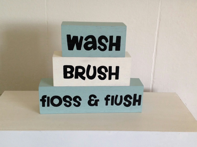 Wash, Brush, Floss & Flush - Shelf Decor Blocks